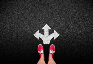 At a crossroads - Decisions and choices concept